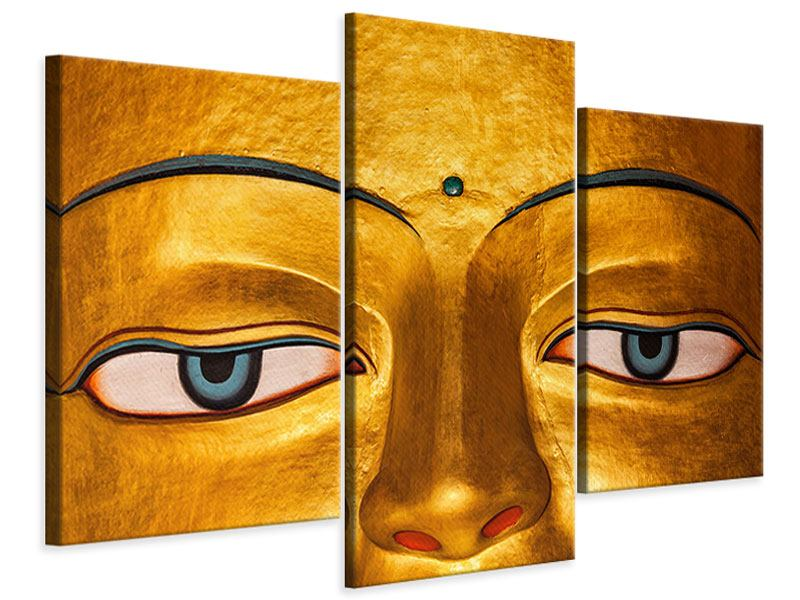 Leinwandbild 3-teilig modern Die Augen eines Buddhas