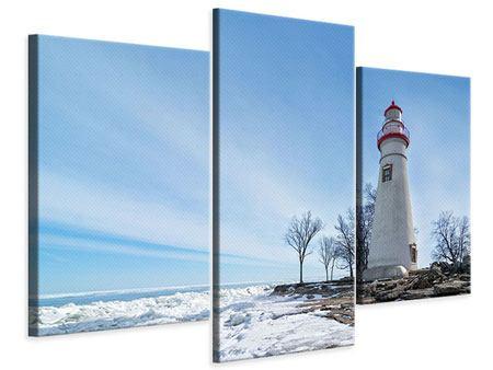 Leinwandbild 3-teilig modern Leuchtturm im Schnee