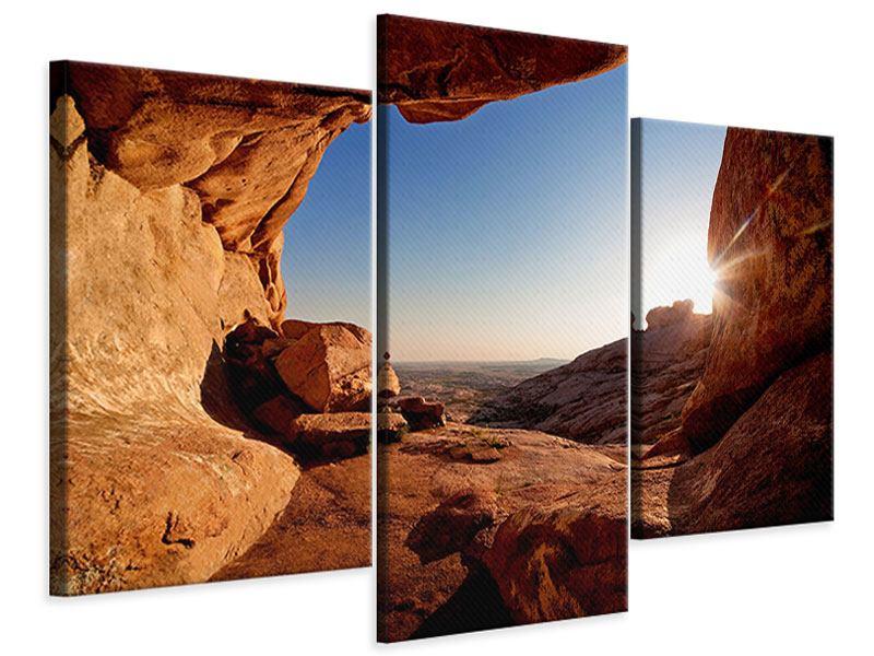 Leinwandbild 3-teilig modern Sonnenuntergang vor der Höhle