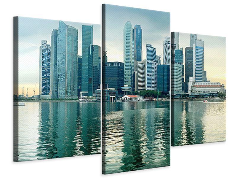 Leinwandbild 3-teilig modern Skyline Sonnenaufgang in Singapur