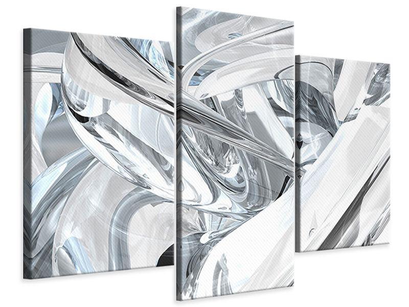 Leinwandbild 3-teilig modern Abstrakte Glasbahnen