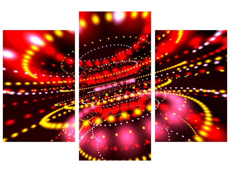 Leinwandbild 3-teilig modern Abstraktes Lichtspiel