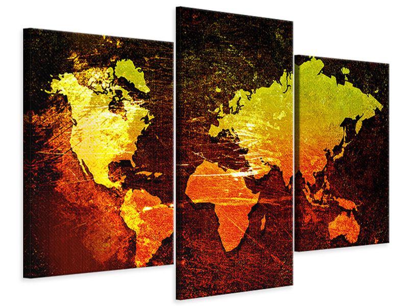 Leinwandbild 3-teilig modern Retro-Weltkarte