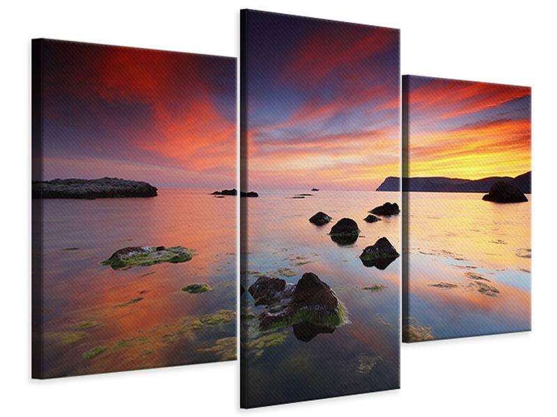 Leinwandbild 3-teilig modern Ein Sonnenuntergang am Meer