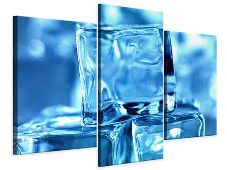 Leinwandbild 3-teilig modern Eiswürfel XXL