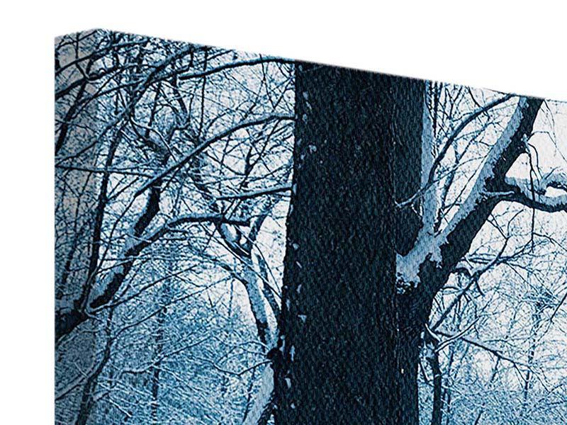 Leinwandbild 3-teilig modern Der Wald ohne Spuren im Schnee
