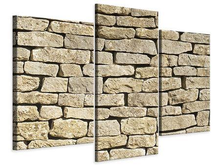 Leinwandbild 3-teilig modern Alte Mauer