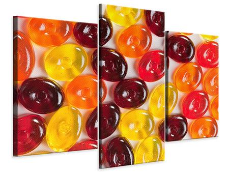 Leinwandbild 3-teilig modern Bonbons