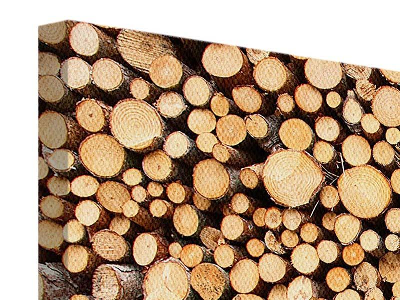 Leinwandbild 3-teilig modern Holzstämme