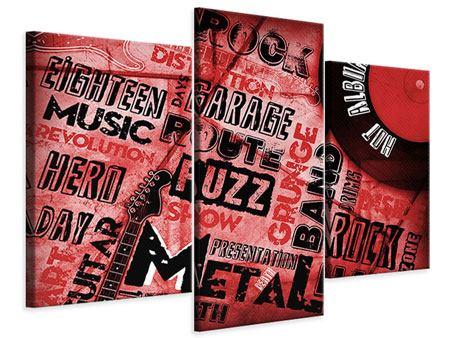 Leinwandbild 3-teilig modern Writings Music Grunge