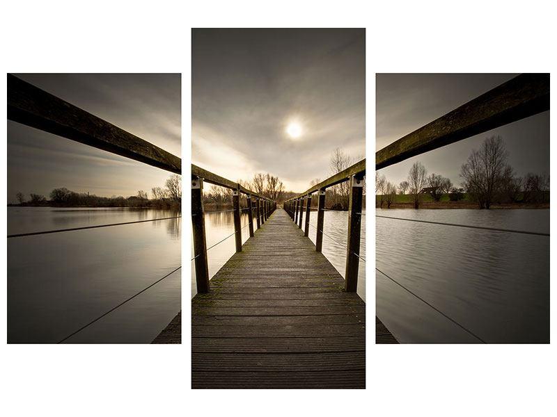 Leinwandbild 3-teilig modern Die Holzbrücke