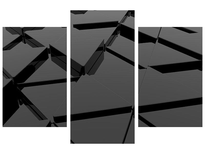 Leinwandbild 3-teilig modern 3D-Dreiecksflächen