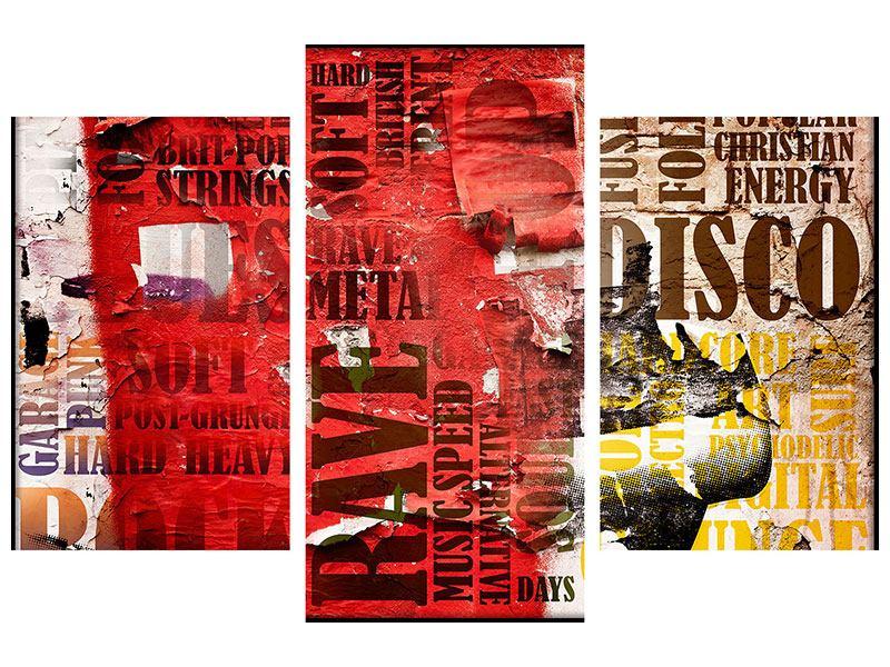 Leinwandbild 3-teilig modern Musiktext im Grungestil