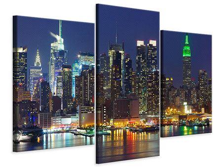 Leinwandbild 3-teilig modern Skyline New York Midtown bei Nacht