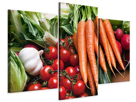Leinwandbild 3-teilig modern Gemüse