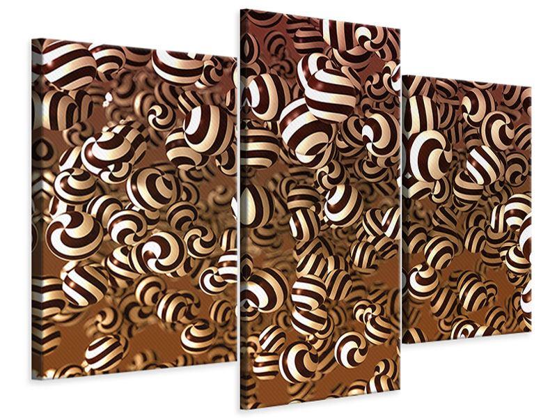 Leinwandbild 3-teilig modern Schokoladen-Bonbons