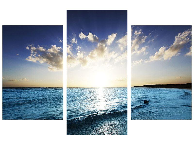 Leinwandbild 3-teilig modern Das Meer im Sonnenaufgang