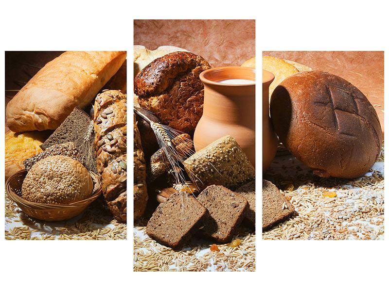 Leinwandbild 3-teilig modern Frühstücksbrote
