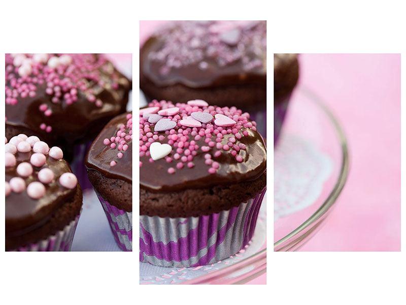 Leinwandbild 3-teilig modern Muffins