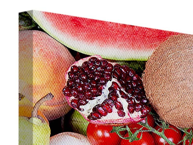 Leinwandbild 3-teilig modern Frisches Obst