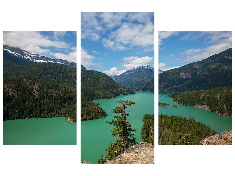 Leinwandbild 3-teilig modern Diablo Bergsee