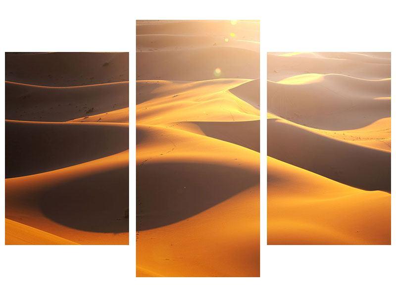 Leinwandbild 3-teilig modern Wüstenwanderung