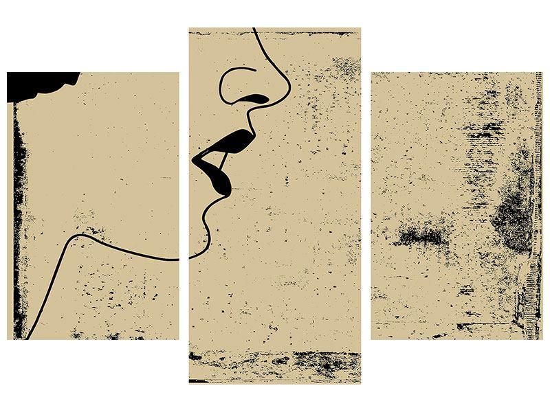 Leinwandbild 3-teilig modern Frauenportrait im Grungestil