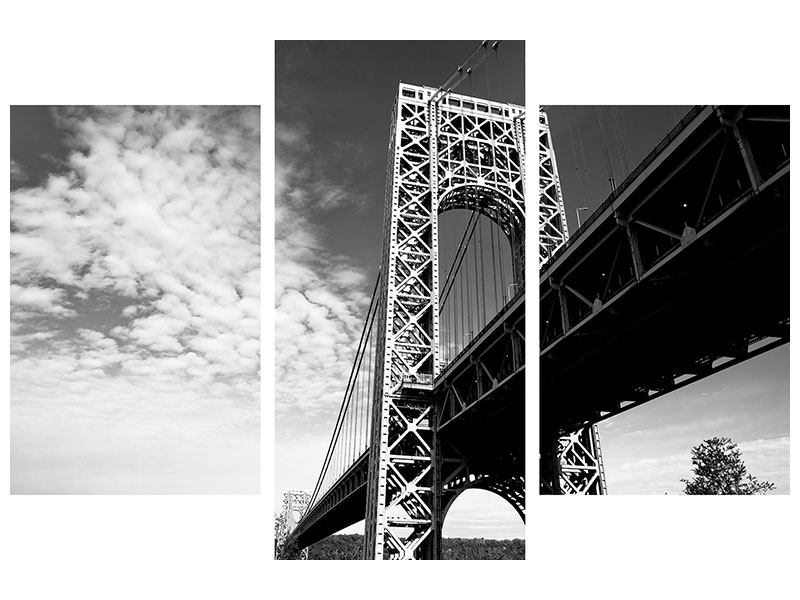 Leinwandbild 3-teilig modern Georg-Washington-Bridge