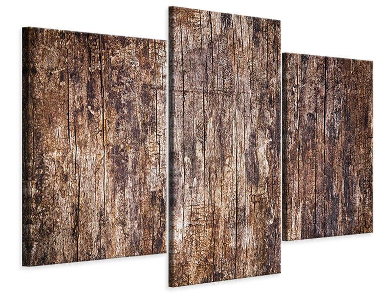 Leinwandbild 3-teilig modern Retro-Holz