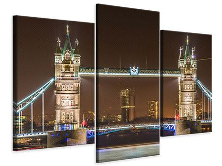 Leinwandbild 3-teilig modern Tower Bridge bei Nacht