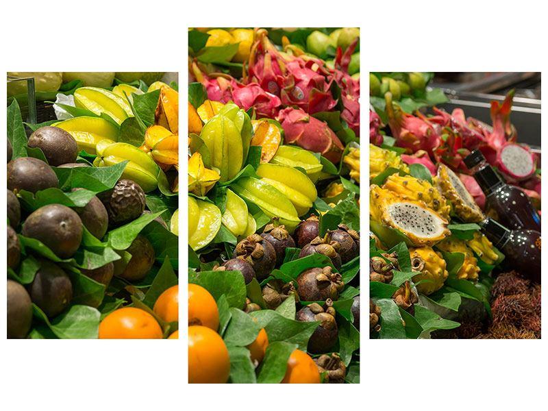 Leinwandbild 3-teilig modern Früchte