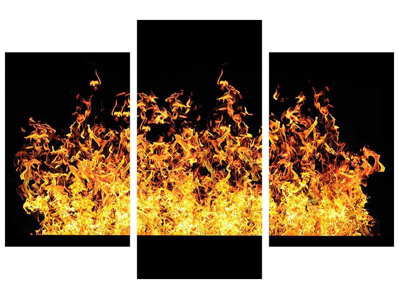 Leinwandbild 3-teilig modern Moderne Feuerwand