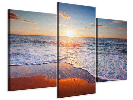 Leinwandbild 3-teilig modern Sonnenuntergang am Horizont