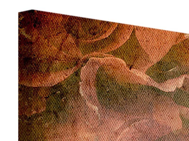 Leinwandbild 3-teilig modern Rosenbukett