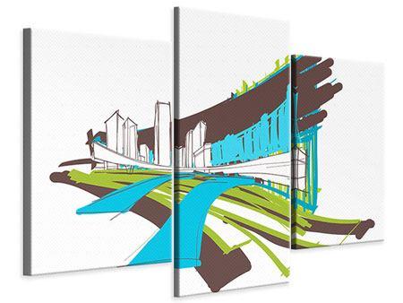 Leinwandbild 3-teilig modern Graffiti Street-Art