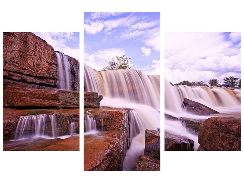 Leinwandbild 3-teilig modern Himmlischer Wasserfall