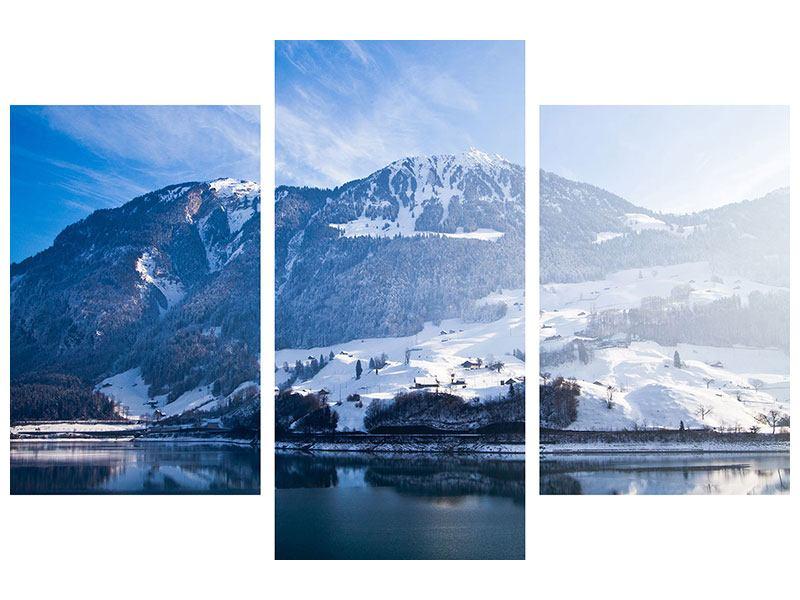 Leinwandbild 3-teilig modern Winterwunderland