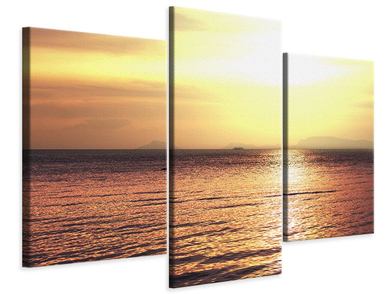 Leinwandbild 3-teilig modern Sonnenuntergang an der See
