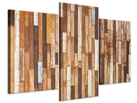 Leinwandbild 3-teilig modern Designholz