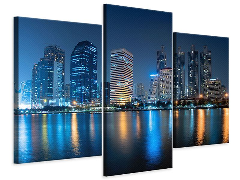 Leinwandbild 3-teilig modern Skyline Bangkok bei Nacht
