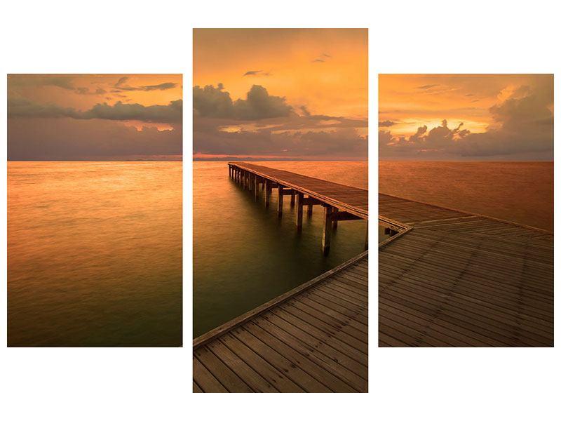 Leinwandbild 3-teilig modern Der Steg am Meer