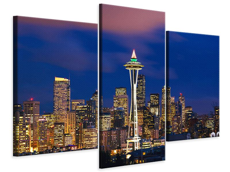 Leinwandbild 3-teilig modern Skyline Seattle