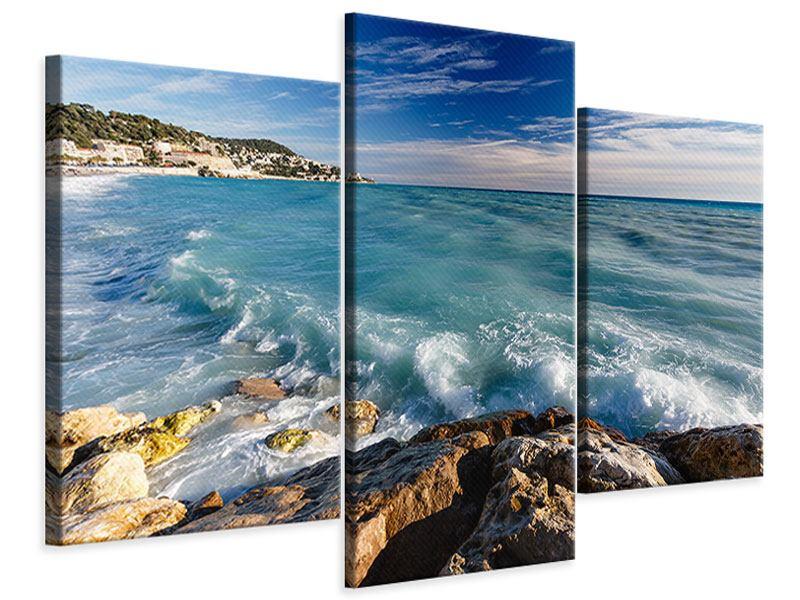 Leinwandbild 3-teilig modern Cote D`Azur