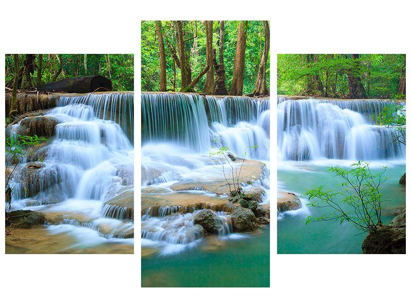 Leinwandbild 3-teilig modern Kaskaden Huay Mae Khamin