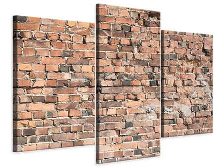 Leinwandbild 3-teilig modern Alte Backsteinmauer