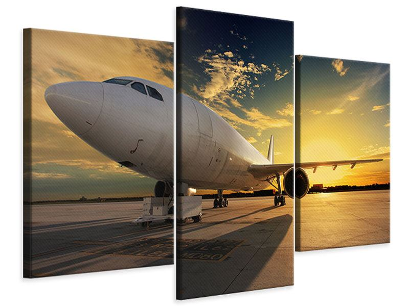 Leinwandbild 3-teilig modern Jet