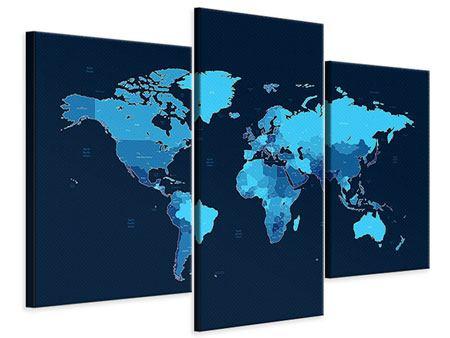 Leinwandbild 3-teilig modern Weltkarte