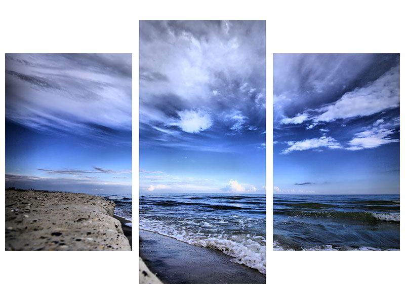 Leinwandbild 3-teilig modern Strandwellen