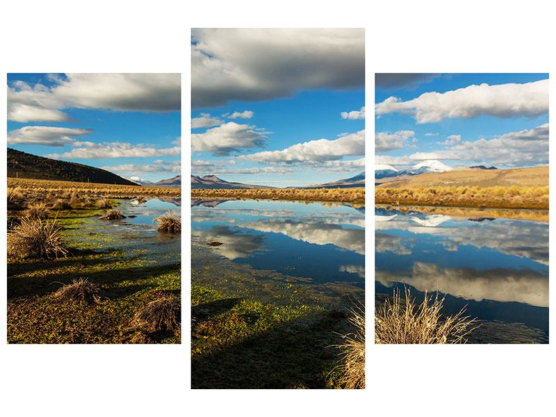 Leinwandbild 3-teilig modern Wasserspiegelung am See