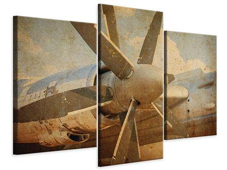 Leinwandbild 3-teilig modern Propellerflugzeug im Grungestil